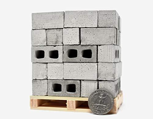 1:12 Scale Miniature Cinder Blocks - 50pk + Pallet