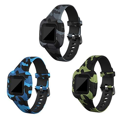 RuenTech Compatible with Garmin Vivofit jr 3 Bands, Replacement Silicone Wristband Camouflage Watch Straps for Kid's Vivofit jr. 3 Fitness Tracker (Camo-3pcs)