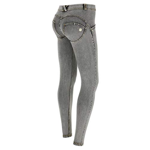 FREDDY Pantalone WR.UP® Superskinny Vita e Lunghezza Regular in Jersey Denim Chiaro - Jeans Grigio-Cuciture Gialle - Small