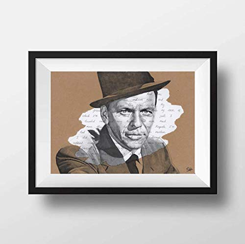 Frank Sinatra Portrait Drawing - Giclée art print with My Way lyrics A5 A4 A3 size artwork