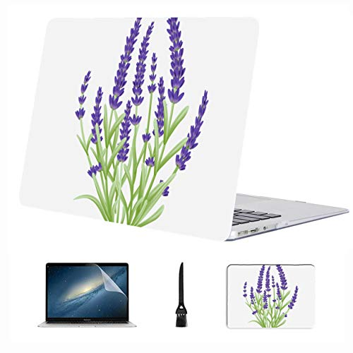 Macbook Cases Charming Romantic Purple Lavender Plastic Hard Shell Compatible Mac Air 13' Pro 13'/16' Mac Air Laptop Case Protective Cover For Macbook 2016-2020 Version