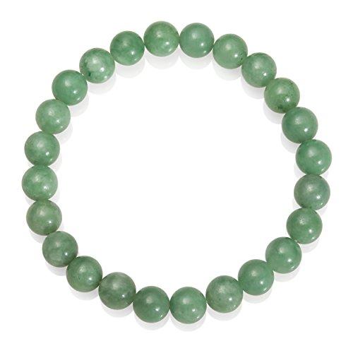 Natural Green Jade Bead Stretch Bracelet, 8.5\