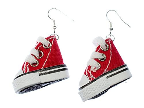 Miniblings Sneaker Ohrringe Schuhe Turnschuhe Sneakers Skater Schuhe 3D rot weiß - Handmade Modeschmuck I Ohrhänger Ohrschmuck versilbert