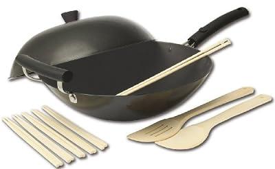 Joyce Chen 21-9971, Classic Series Carbon-Steel Nonstick Wok Set, 4-Piece