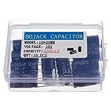 BOJACK 2200uF 16V 10x20mm Condensadores 2200 MFD 16 voltios 0.39x0.79 pulgadas ± 20% Condensadores electrolíticos de aluminio (paquete de 10 piezas)