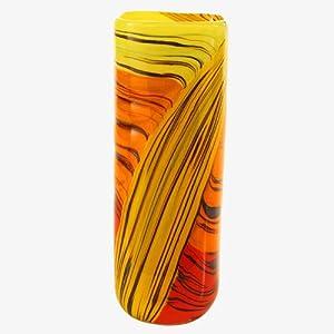 Jarrón de Cristal de Murano Moderno con Vetas de aventurina intensas Tonos, Naranja, Amarillo, técnica Pinceladas, auténtico Trabajo de Horno Veneciano