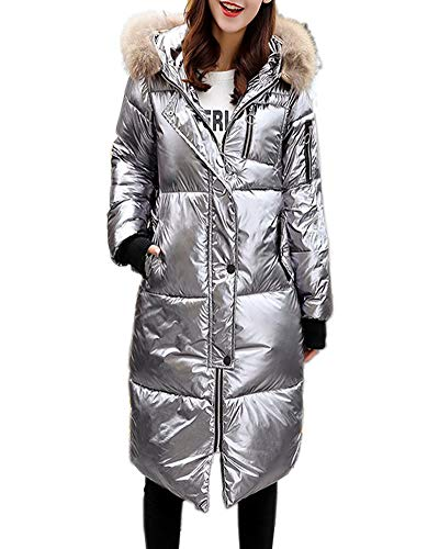 DUOMI Womens Winter Hooded Warm Coats Parkas Down Jackets Zipper Long Overcoat (X-Large, Grey)