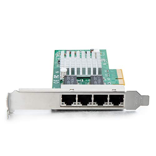 10Gtek® Gigabit PCIE Netzwerkkarte I350-T4 - Intel I350 Chip, Quad RJ45 Ports, 1Gbit PCI Express Ethernet LAN Card, 10/100/1000Mbps NIC für Windows Server, Windows 7/8/ 10, XP und Linux