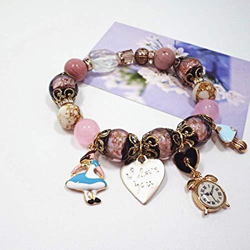 JIACUO Natürlich,Feng Shui Wealth Blue Sandstein Armband Lapis Lazuli Herz/Uhr/Kleine Prinzessin Anhänger Armband Chinesische Retrostil Amulett,Rosa