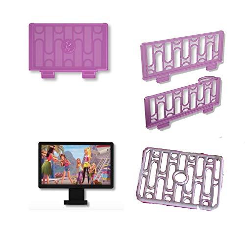 Barbie DLY32 - Casa de muñecas de 3 pisos, televisor de repuesto, rieles y pared rosados