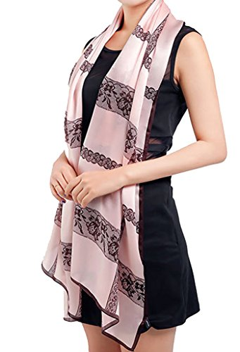 Helan Damen Reale natürliche Seide 175 X 65 cm Lange Schals rosa nette Spitze Blumen