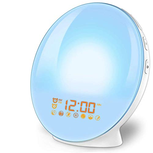 imoebel LED Wake-up Licht, Wake-up Light, Lichtwecker, Digitaler Wecker, Sonnenaufgangssimulation, 7 natürliche Töne, FM Radio, Schlummerfunktion, Tageslichtwecker.