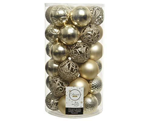 Christmas-Decorations Weihnachtskugeln Kunststoff 6cm x 37er Set mit Ornamenten Creme Hellcreme