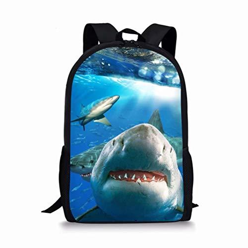 POLERO Kinder Rucksack Schultasche Kindergarten Vorschule Tasche Kleinkinder Reisetasche mit Hai Print Design Genschenk für Junge Studenten