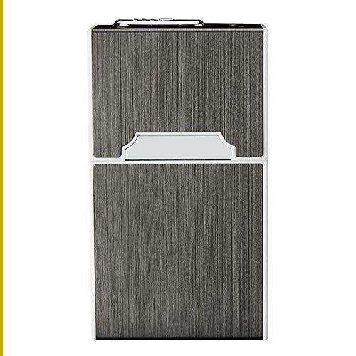 VIY Zigarettenetui Mit Feuerzeug, 2-In-1 Aluminium Zigarettenbox, Elektronisches Integriertem Flammenlose Feuerzeug, Aufladbar Zigarettenschachtel(Schwarz)