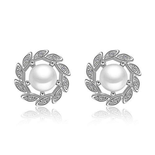 WFZ17 Accesorios de joyería Elegante falsa perla hoja Rhinestone Stud Pendientes mujeres pendientes pendientes pendientes plata