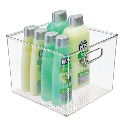 mDesign Deep Plastic Storage Bin Tote with Handles for Organizing Hand Soaps, Body Wash, Shampoos, Lotion, Conditioners, Hand Towels, Hair Accessories, Body Spray, Mouthwash - 7.5' High - Clear