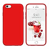YINLAI iPhone 6S Case iPhone 6 Case Liquid Silicone Slim Sleek Soft Gel Rubber Cover Microfiber Cloth Lining Cushion Lightweight Shockproof Protective Durable Phone Cases for iPhone 6S/6, Red