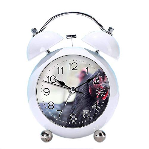 """GIRLSIGHT 4"""" Twin Bell Alarm Clock with Fun Animal Dial, Backlight, Battery Operated Loud Alarm Clock 282.of Ayam Cemani Chicken(White)"""