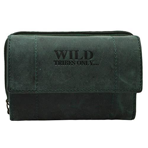 Portemonnaie Damen Wild Leder Geldbeutel in 9 Farben mit RFID Schutz (Grün)