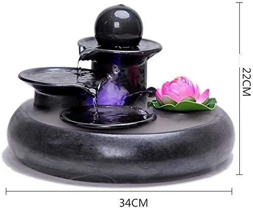 KEKEYANG El hogar de cerámica artesanía Fuentes Creativas Feng Shui Agua humidificador Tanque de Peces pequeños Adornos Fuente Interior (Color : B)