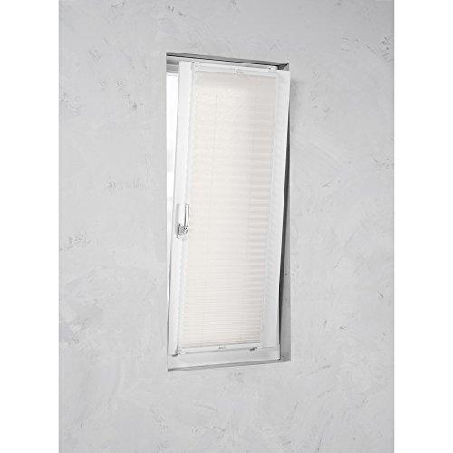 Easy-Shadow Klemmfix Plissee Faltstore in der Farbe weiß / Breite 105 cm x Höhe 120 cm / 105x120 cm/ 105 x 120 cm inkl. 4 Stück Klemmträger / Klemmhalter Montage ohne bohren / Maßanfertigung