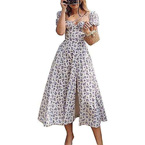 KeYIlowys New Printed French Floral Neckholder Slim-Fit Sling-Kleid Mit Schlitzen FüR Damen