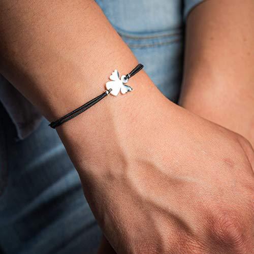 Made by Nami Stretch-Armband für Mädchen & Frauen - Elastische Freundschafsarmbänder für beste Freundin, Mutter & Tochter - Glücksbringer & Talisman - Valentinstags-Geschenk (Silber Schutz-Engel)