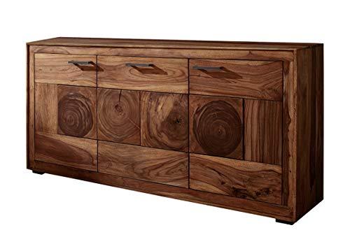 SAM Sideboard Nora I, Akazienholz massiv & nussbaumfarben, Kommode mit 3 Türen, Schwarze Griffe, 170 x 82,5 x 40 cm