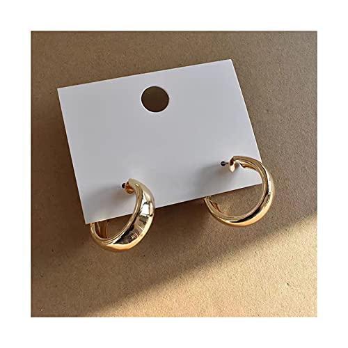 YNX MLKCL Minimalista Grande círculo geométrico Redondo Grande aro aro Aros Damas Damas niñas Boda Boda joyería (Metal Color : Gold 1)