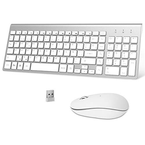 Ibera Teclado y Raton Inalámbrico, 2.4G USB QWERTY Español Teclado Inalambrico Ergonómico Numerico Teclado Inalambrico Raton Teclado PC Tecla para Windows 7 8 10 2000   XP Vista Mac (Blanco)