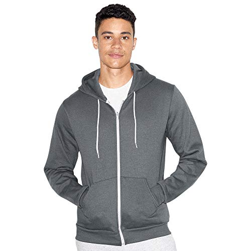 American Apparel Unisex-Erwachsene Flex Fleece Long Sleeve Zip Hoodie Kapuzenpulli, Asphalt, Large
