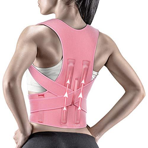 Snoky Posture Corrector,Back Brace for Women and Men Support Straightener, Shoulder Lumbar Adjustable Posture Corrector for Improve Posture, for Neck, Back and Shoulder Pain Relief Pink(M)