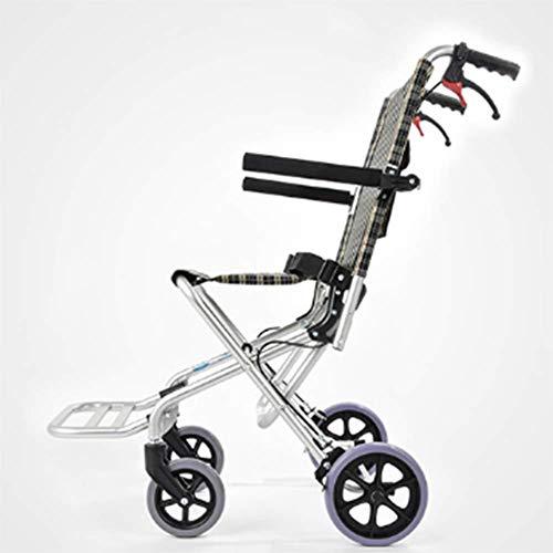 Yhtech Silla de rehabilitación médica, silla de ruedas, silla de ruedas plegable de peso ligero de conducción médica, aleación de aluminio ultraligero con silla de ruedas de la carretilla mayor del ni