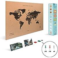 Miss Wood Map, Mapa del Mundo de Corcho, Natural/ Negro