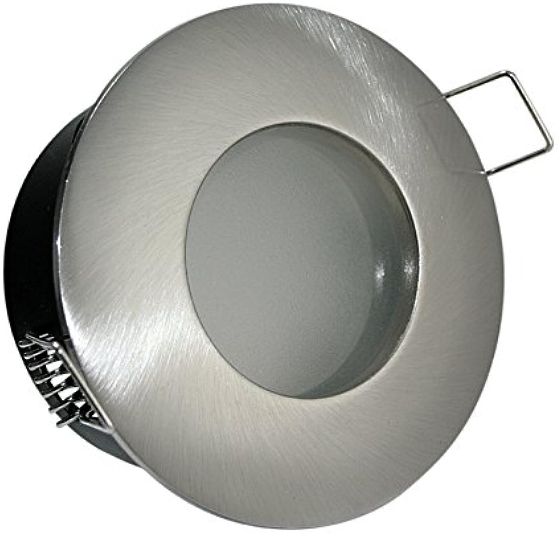 5X 230V Bad Einbaustrahler Bdermax Farbe  Edelstahl geb. Für Dusche, Bad + Nassbereich IP65 inkl. 20Watt Halogenleuchtmittel+Gu10 Fassung