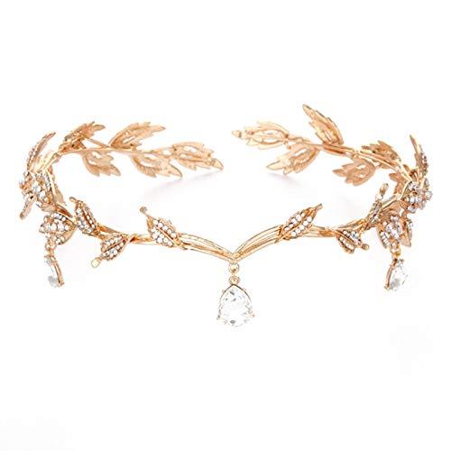 TOOGOO Vintage Kristall Braut Haarschmuck Hochzeit Nachahmung Strass Wassertropfen Blatt Tiara Krone Stirnband Stirnband Brautjungfer Haarschmuck Golden