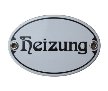 Türschild Heizung Emaille Schild Jugendstil 7 x 10,5 cm Emailschild weiß (ohne Holzrahmen)