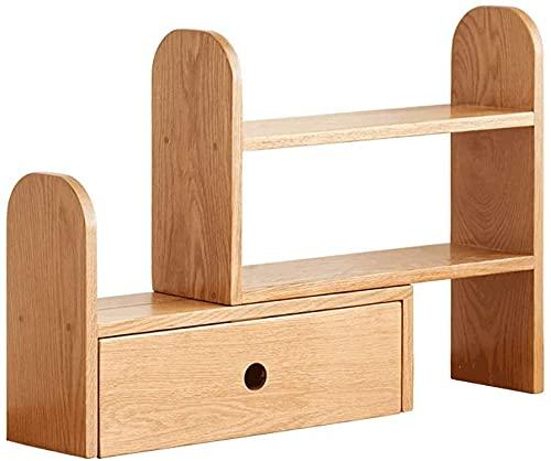 Aralinda Estantería organizadora de escritorio para oficina, estante de almacenamiento ajustable, color natural, pantalla de rotación de estilo libre, estantería de madera natural natural