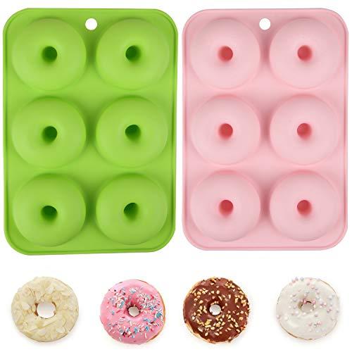 Molde para Donuts,Moldes Silicona Molde de Silicona Antiadherente de 6 Compartimentos, Fácil de Quitar y Limpiar, Se Puede Utilizar Moldes Donuts para Pasteles, Galletas (Verde & Rosa)