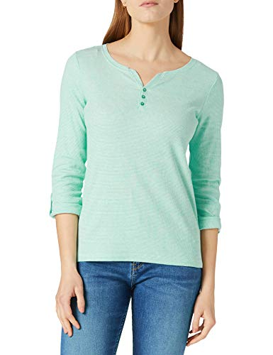 TOM TAILOR Damen Henley Striped 1024036 T-Shirt, 26051-Offwhite Green Small, L