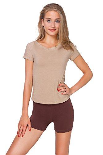 FUTURO FASHION® - Yoga-Shorts aus Baumwolle - super weich - kurz - elastisch - Größe 36-50 - PSL5 - Braun - 38