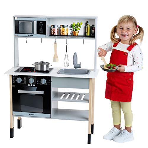 Theo Klein 7199 Miele Kinderküche – Weiße Holzküche inkl. Kochfeld mit Sound- und Licht - 2