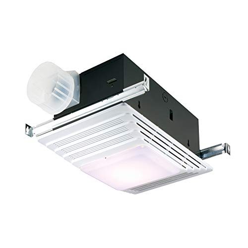 Broan-NuTone 655 Bath Fan and Light with Heater, 70 CFM 4.0 Sones, White Plastic Grille