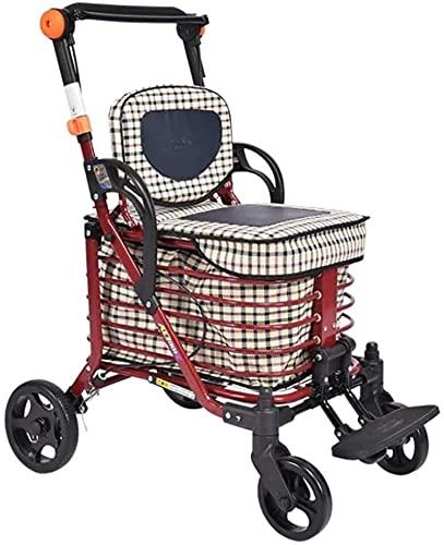 Andador con Ruedas para Ancianos Andador con Ruedas Plegable con Asiento, Freno con Cerradura, asa y Bolsa ergonómicas, Asistencia de Movilidad Limitada