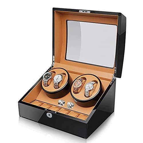 ANTLSZH Reloj Automático Winder con 4 Reloj De Motor Tranquilo Pantalla De Bobinado + 6 Reloj Flexible Almohadas De Almacenamiento Estuche para Hombre/Relojes De Mujer