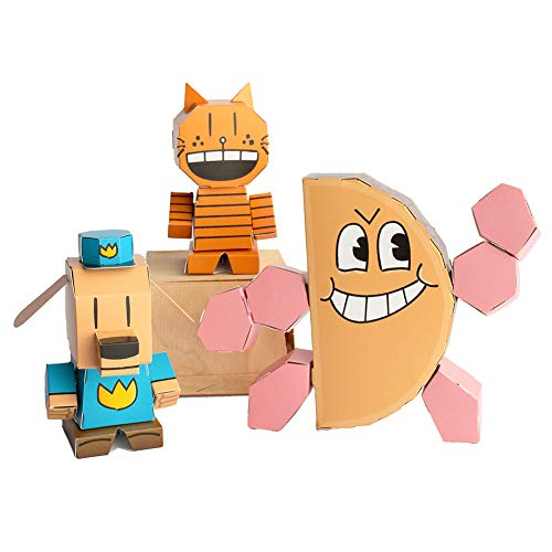 Cubles Dog Man 3D Paperboard Model Kit. 3-Pack. Movable Parts. No Scissors or Glue Needed. USA Made.