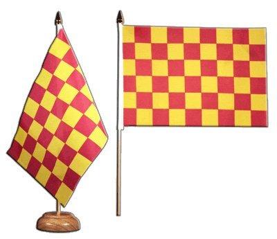 Bandera de mesa/mesa Flaggenfritze–Bandera de cuadros rojo amarillo + Gratis Pegatinas,