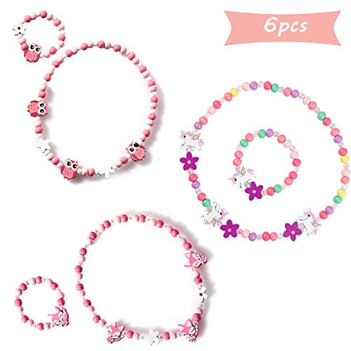 SUNSK Prinzessin Halskette Armbänder Sets Bunte Holz Schmuck Perlen Holzkette Perlenkette mit Holzperlen Kleine Mädchen Geschenke 6 Stück (Einhorn, Fuchs, Eule)