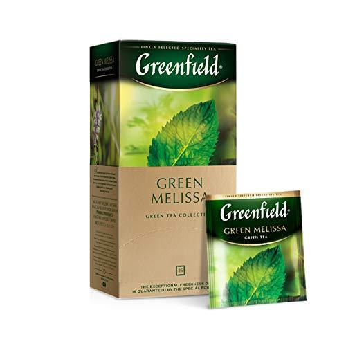 GREENFIELD GREEN MELISSA   25 Teebeutel   Aromatisierter Grüner Tee mit Minze und Zitronenmelisse   Enthält Koffein   Hochwertiger Tee   Gluten-frei, Koscher   Flavoured Green Tea, Mint and Melissa   tea bags   (25 x 1,5g); 37,50g